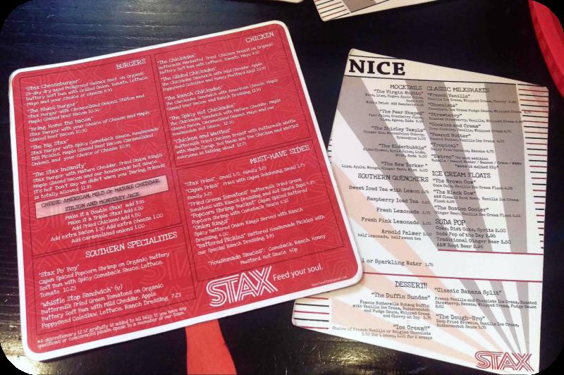 Stax Diner Menu