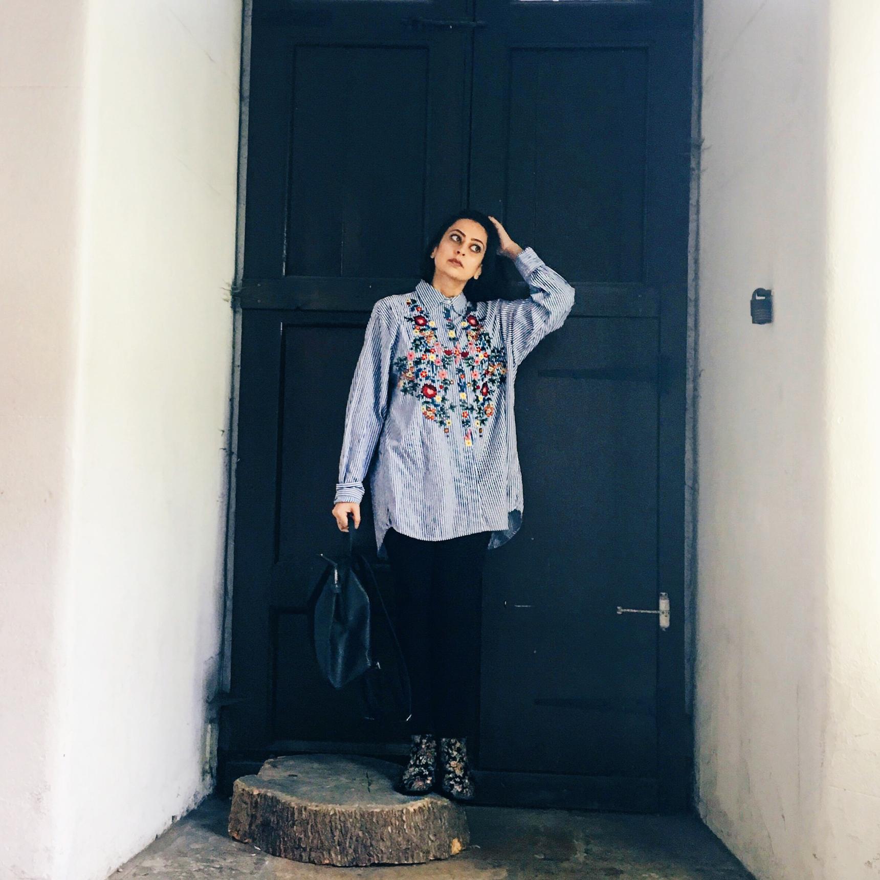 Zara Stripy Floral Shirt