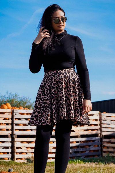 Boohoo Leopard Skater Skirt