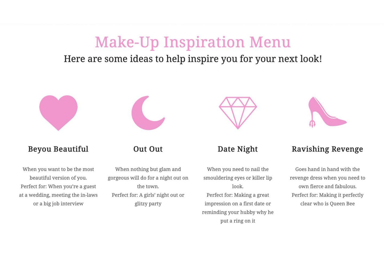 Beyou make up inspiration menu
