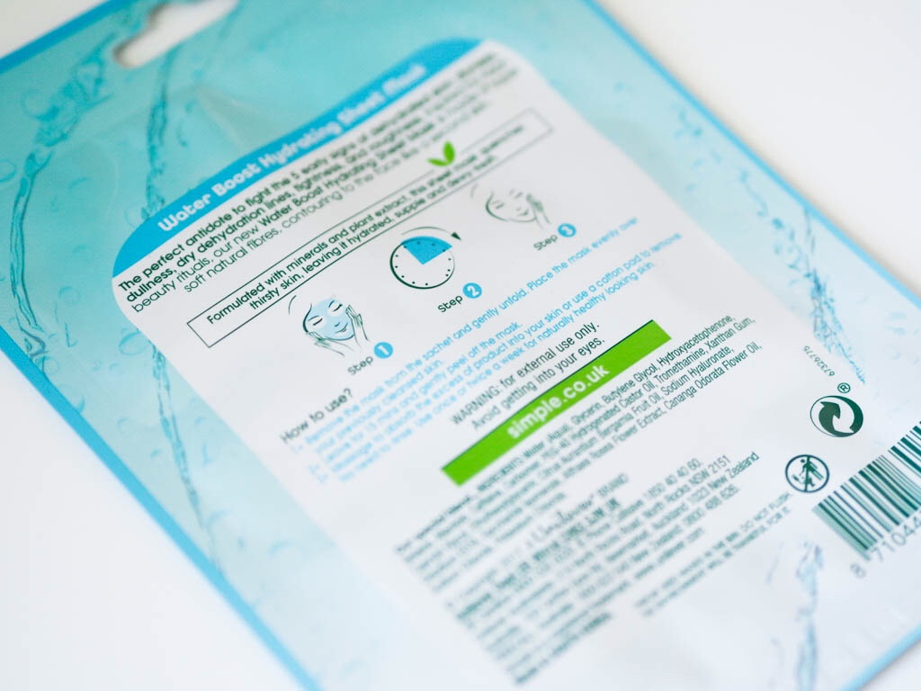 Simple Water Boost Hydrating Sheet Mask Review